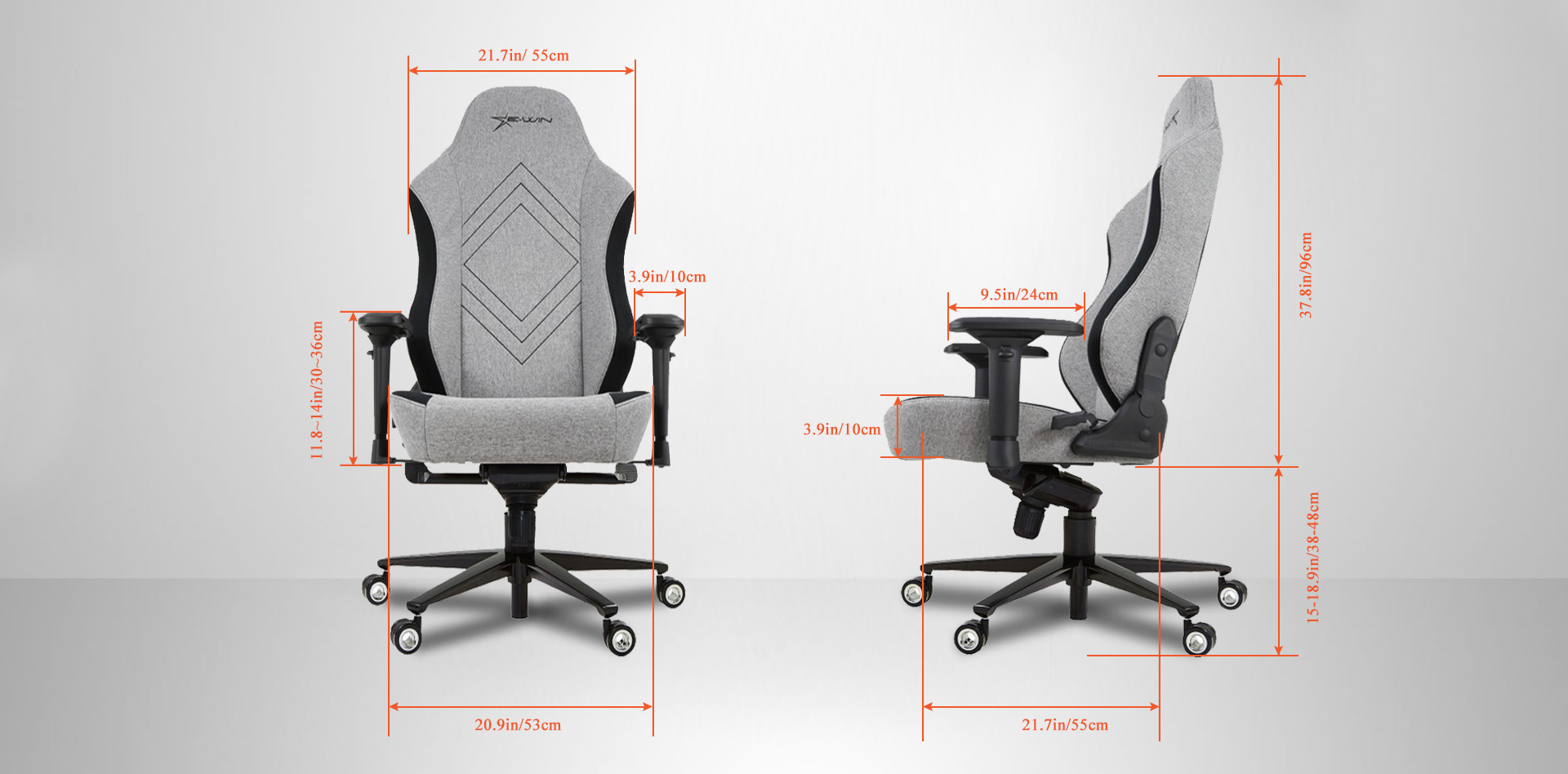 EwinRacing Champion Gaming Chairs Dimensions